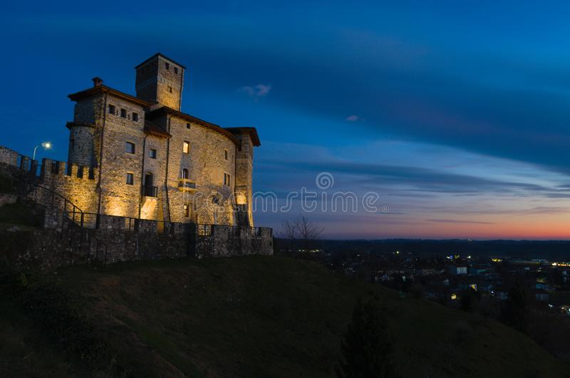 Night view of the Savorgnan's Castle in Artegna. View of the Savorgnan's Castle in Artegna, Friuli, after the sunset blue hour stock photos