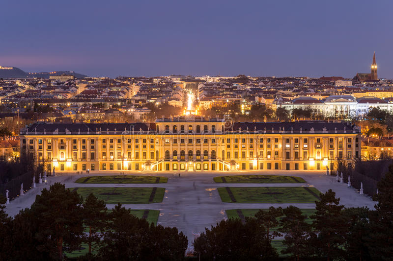 Night View on Schonbrunn Palace, Vienna, Austria stock images