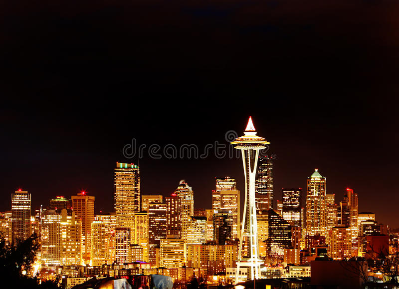 Night View On Seattle Skyline With Space Needle Royalty Free Stock Images