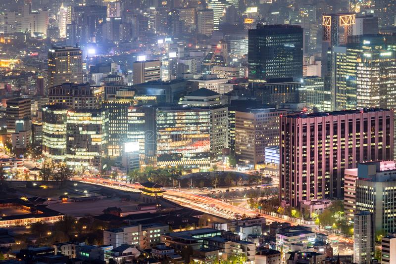 Night view of Seoul Downtown cityscape. Aerial Sunset and Night view of Seoul Downtown cityscape in South Korea royalty free stock photography