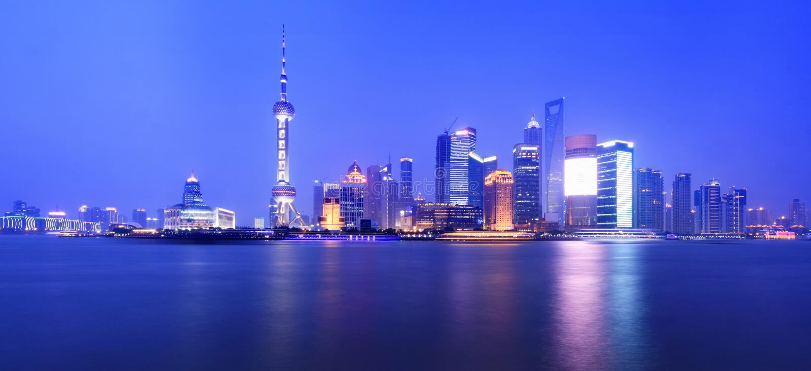 Download Night view of shanghai stock image. Image of architecture - 14848225
