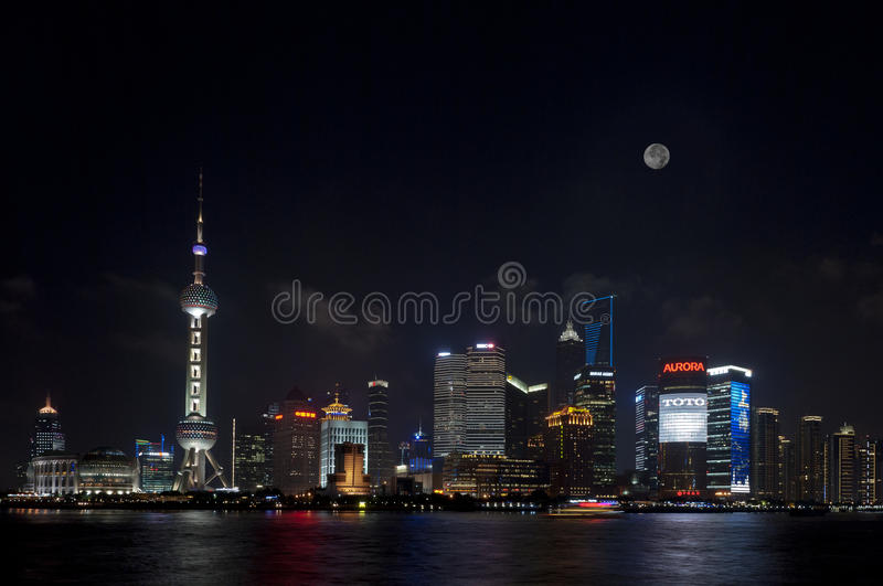 Night View Of Shanghai Lujiazui Full Moon Editorial Image