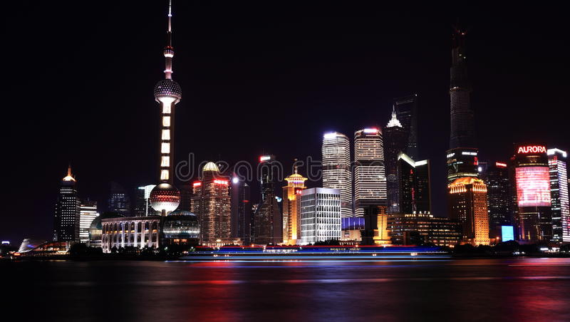 Download Night view  of shanghai editorial stock image. Image of chinese - 33450624