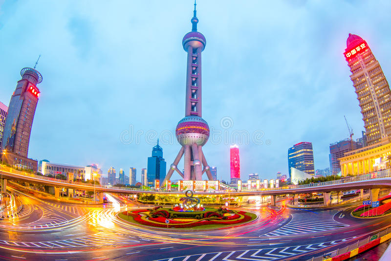 Night view of shanghai at pearl tower stock images