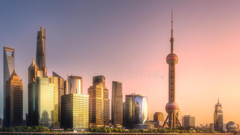 Download Night View Of Shanghai Skyline And Huangpu River Stock Photo - Image of building, background: 109796654