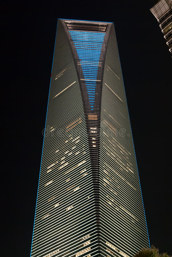 Night view of Shanghai World Financial Center. Shanghai, China stock photos