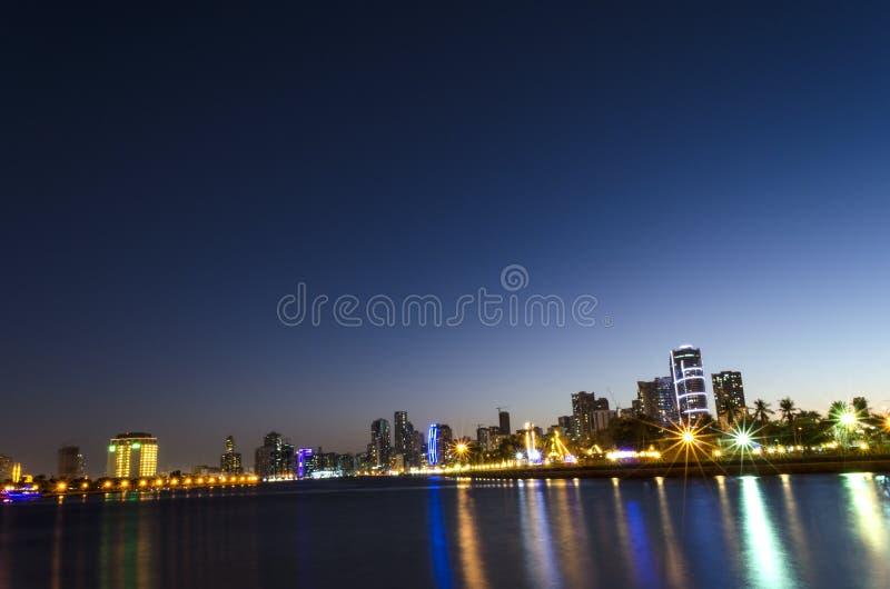 Night View of Sharjah UAE stock image