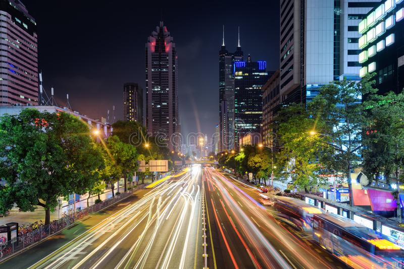 Night view of Shennan East Road and skyscrapers in Shenzhen stock photography