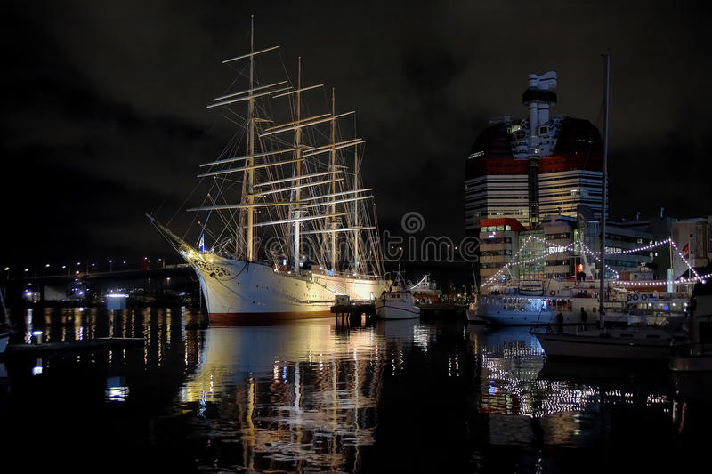 Night view of the ship Viking in Gothenburg stock images