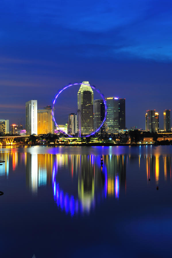 Night view of singapore flyer royalty free stock image