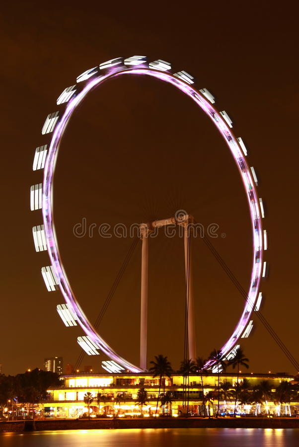 Nightscop of singapore flyer. Night view of the highest flyer in the world singapore royalty free stock image