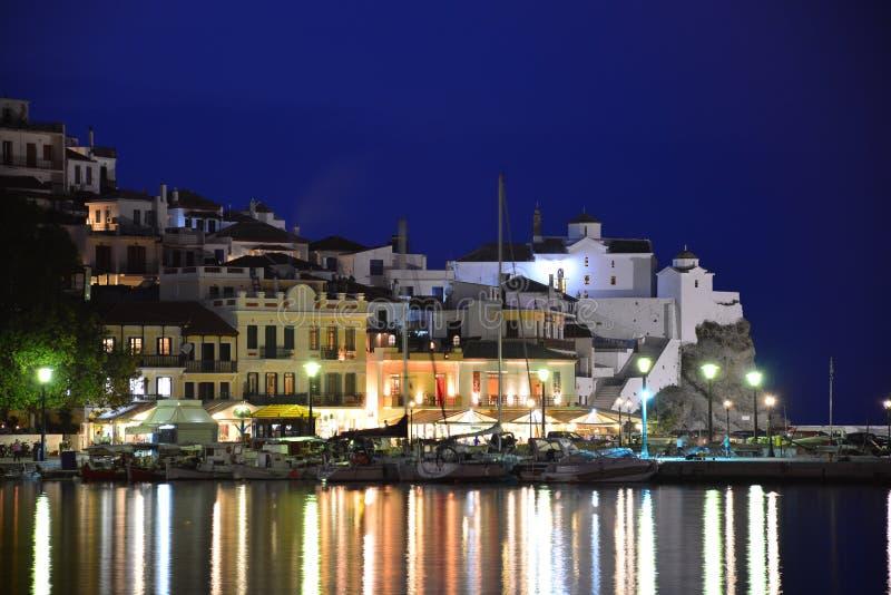 Night view of Skopelos royalty free stock photo