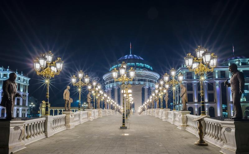 Night view in Skopje city center royalty free stock photo