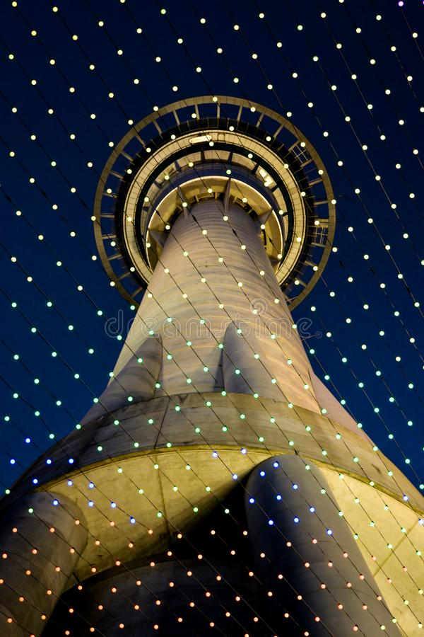 Night view on Sky Tower stock illustration