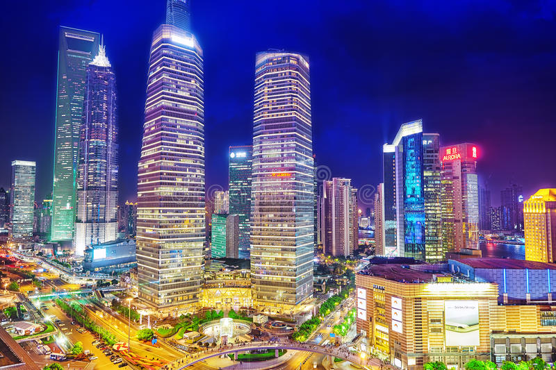 Night view skyscrapers, city building of Pudong, Shanghai, China royalty free stock image