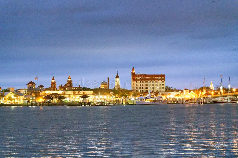 Night view of St Augustine skyline, Florida.  royalty free stock image