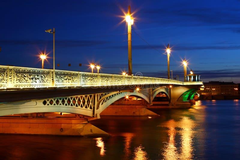 Night view of St. Petersburg stock photos