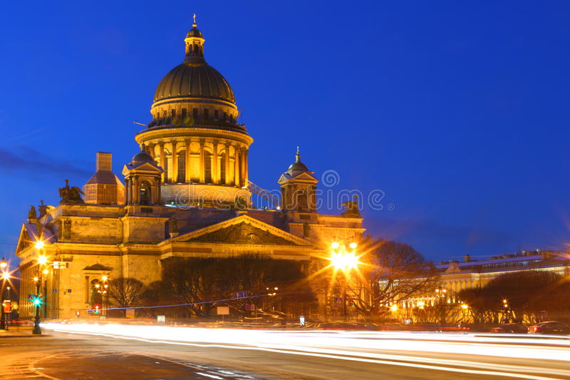 Night view of St. Petersburg.The Kazan Cathedral. royalty free stock image