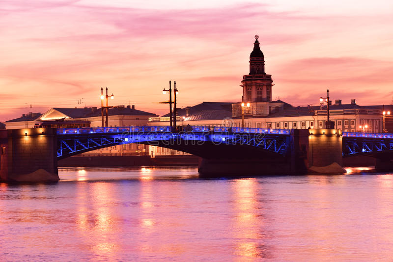 Night view of St. Petersburg, Russia royalty free stock image