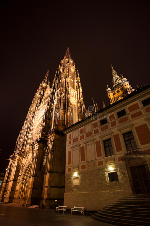 Night View Of  St. Vitus Cathedral In Prague Stock Image