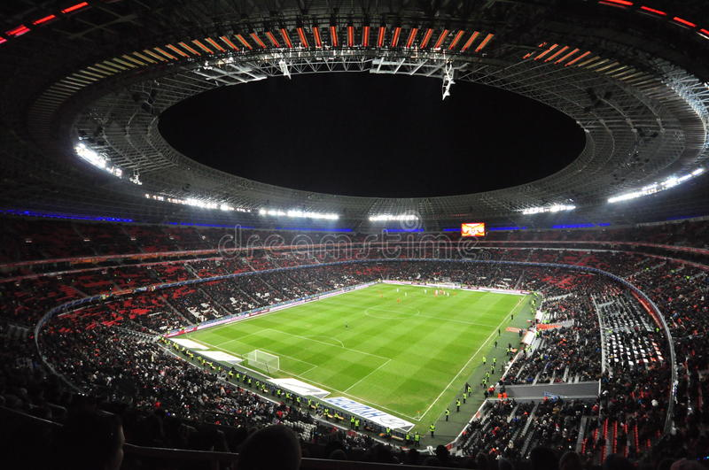 Night view of the Stadium Donbass Arena royalty free stock photo