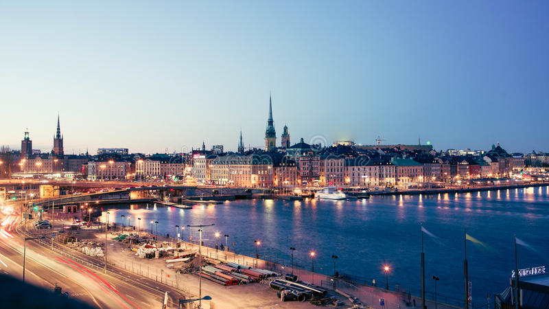 Night view of Stockholm royalty free stock image