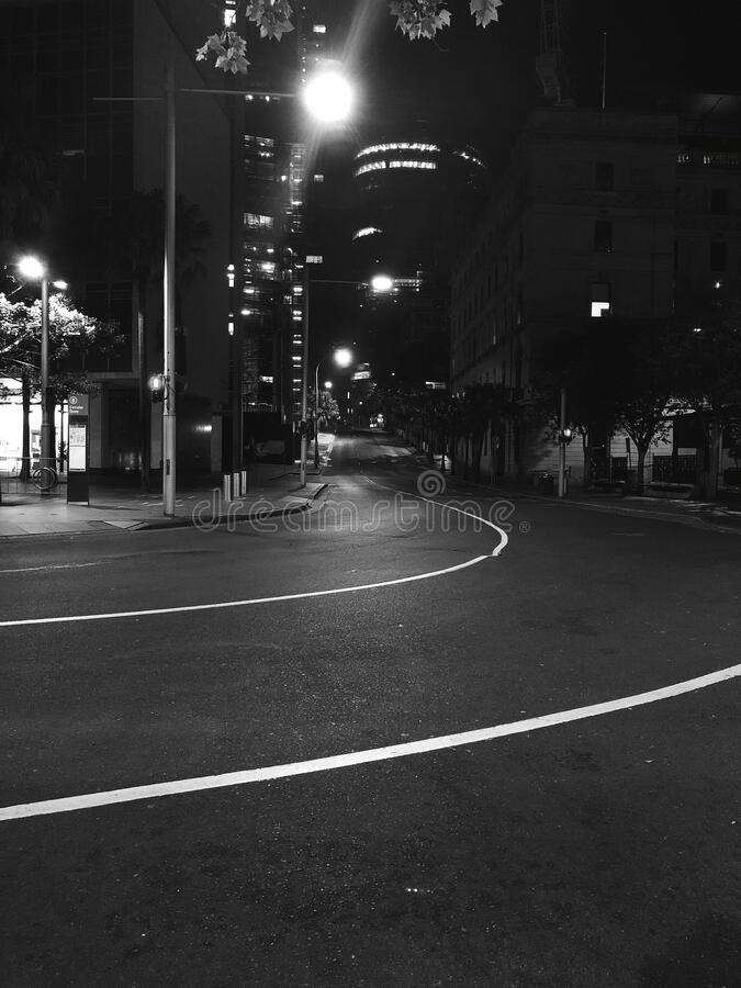 Night view of a street in Sydney, Australia. stock photos