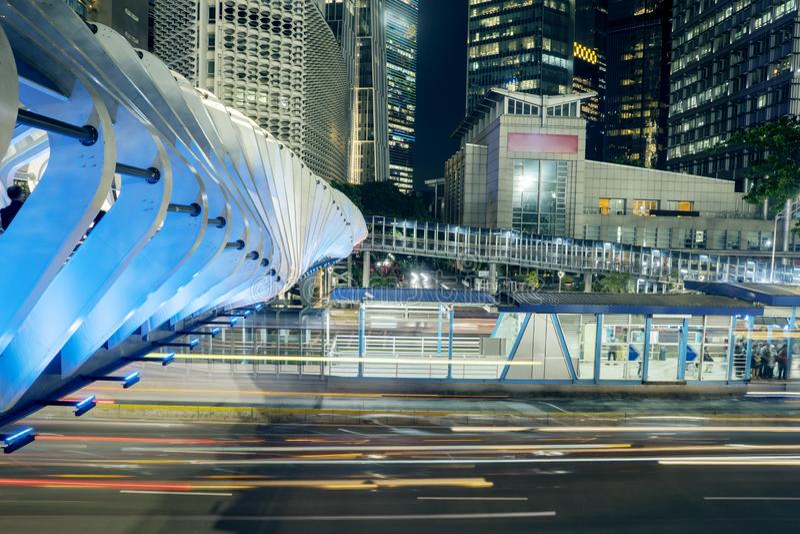 Night View Of Sudirman Street With Pedestrian Bridge ...