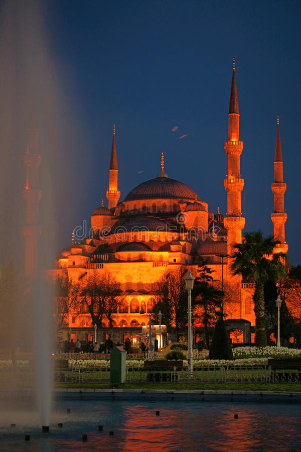 Night view of Sultanahmet (Blue) Mosque (Istanbul) stock photo