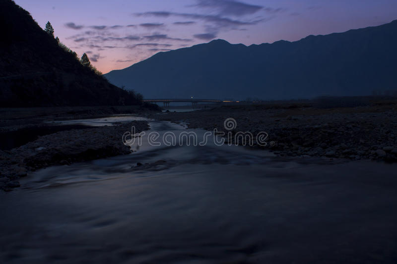 A night view of Swat River stock photos