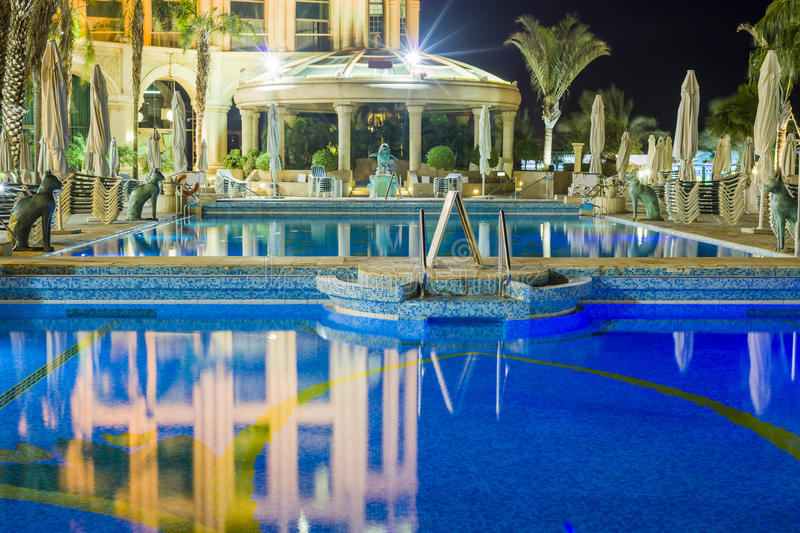 Night view on swimming pool, Eilat. Eilat is a famous resort city in Israel royalty free stock photos