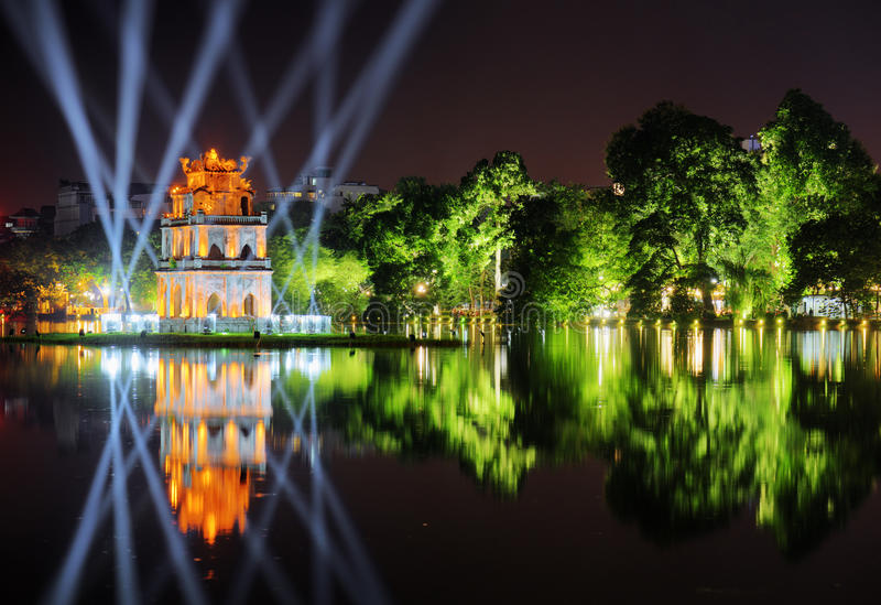 Night view of the Sword Lake and the Turtle Tower. Hanoi stock photography
