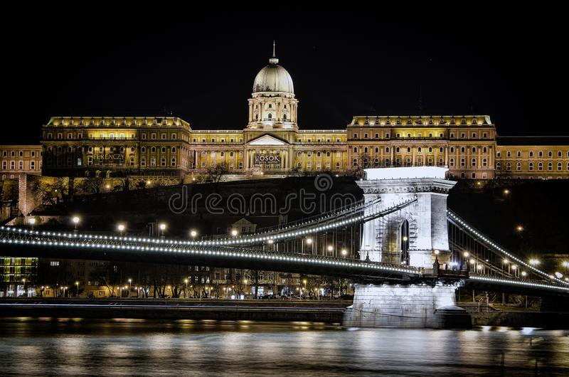 Night view of the Szechenyi Chain Bridge in Budapest, Hungary. Night view of the Szechenyi Chain Bridge is a suspension bridge that spans the River Danube royalty free stock image