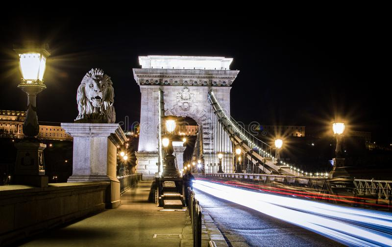 Night view of the Szechenyi Chain Bridge in Budapest, Hungary. Night view of the Szechenyi Chain Bridge is a suspension bridge that spans the River Danube stock photography