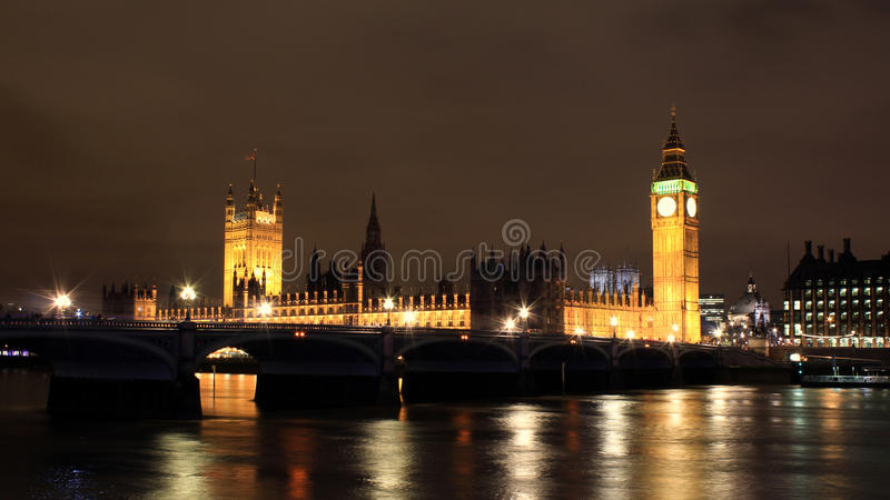 Download Night view of Thames river stock image. Image of hall - 26655587