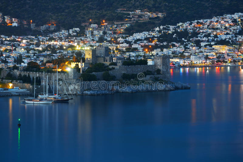 Night view to Bodrum castle. Bodrum, Turkey - April 15, 2014: Night view to the St. Peter's castle. Built in XV century, now the castle housed the Museum of stock image