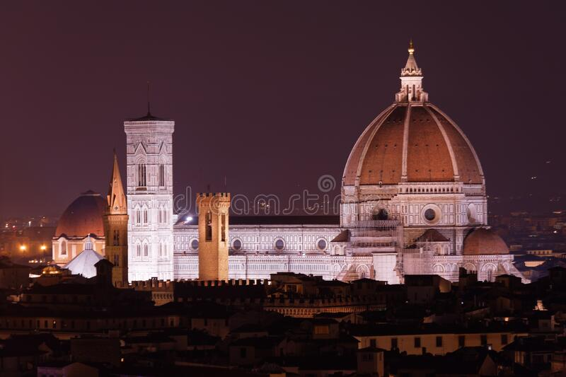 Night view to Florence Cathedral royalty free stock photo