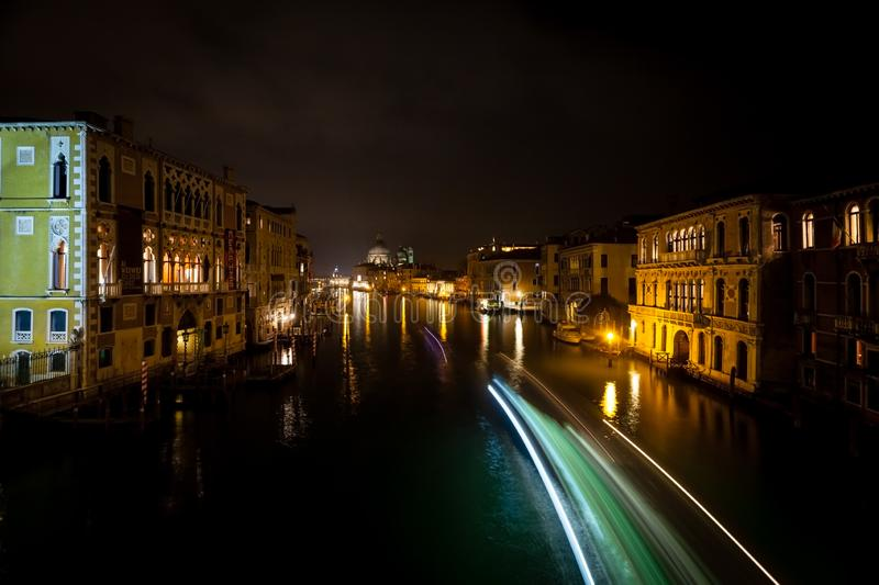 Night view to Grand Canal from Accademia Bridge, Venice. Night view to Grand Canal from Accademia Bridge stock image