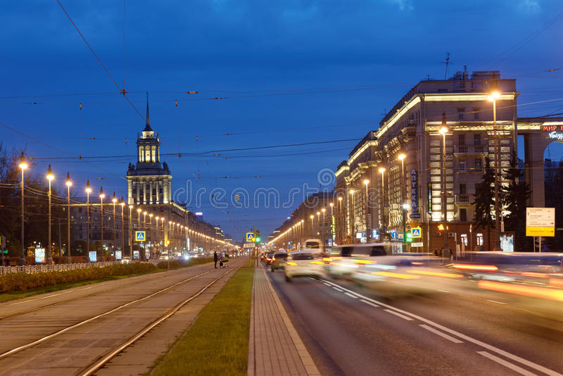 Night view to Moscovsky avenue in St. Petersburg, Russia stock photo