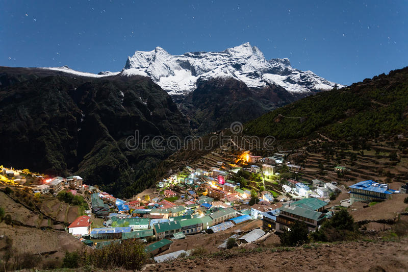 Night view to the Namche Bazar