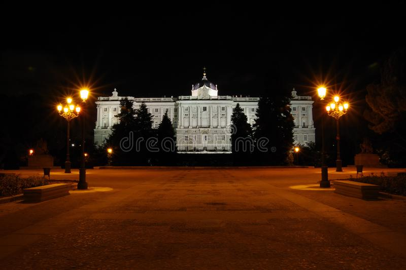 Night view to Palacio Real, Madrid, Spain royalty free stock photography