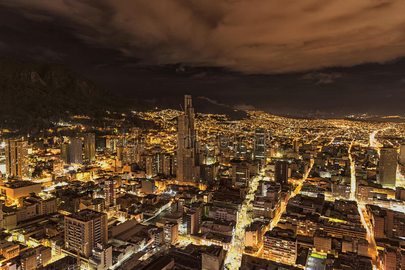 Night view of the Torre BD Bacatá the highest in town. This is panorama of the city of Bogotá by night taken from the tower Colpatria. We can see the BD stock photography