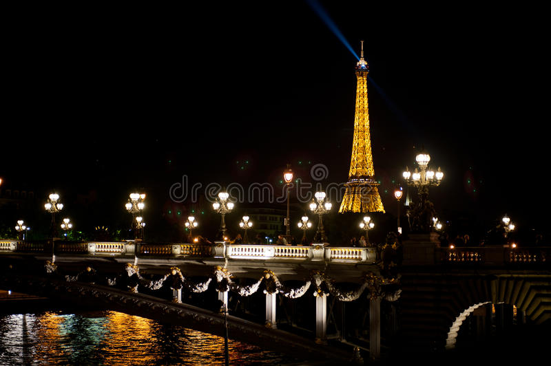 Night view of Tour Eiffel royalty free stock photography