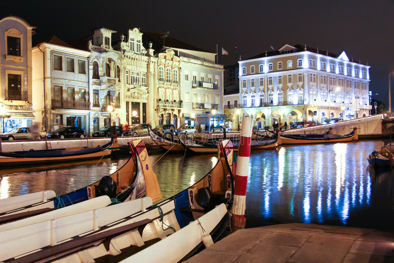 Night View The Traditional Moliceiro Boats In The Canal Of Aveir Editorial Image