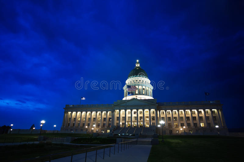 Night view, Utah Capitol building, Salt Lake City stock images