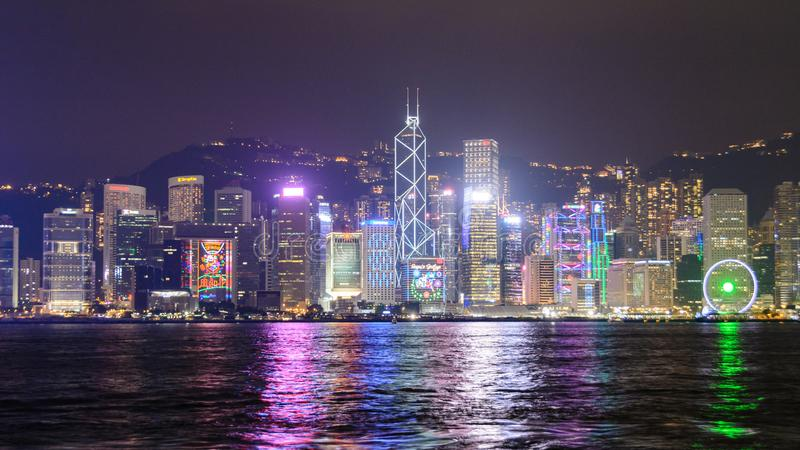 Night view of Victoria Harbor in Hong Kong, China royalty free stock images