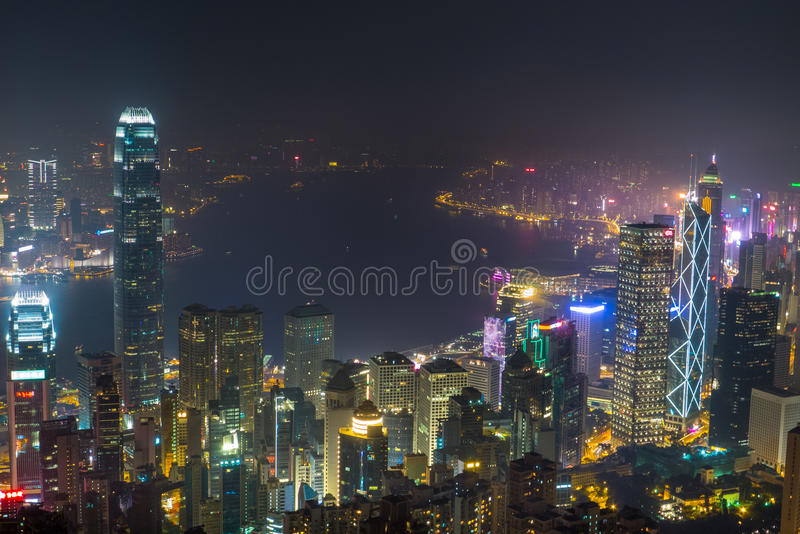 Night View of Victoria Harbour, Hong Kong stock images