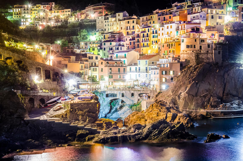 Night view of village Manarola in Cinque Terre royalty free stock images