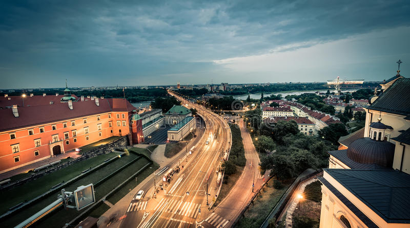 Night view on Warsaw from the bridge of the central square. Poland royalty free stock images