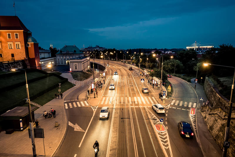 Night view on Warsaw from the bridge of the central square. Poland royalty free stock photos